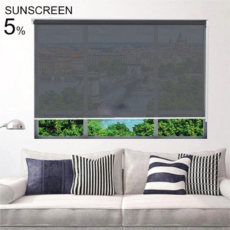 ม่านม้วน  ( สีดำ-เทา) Sunscreen 5% ระบบโซ่ดึง