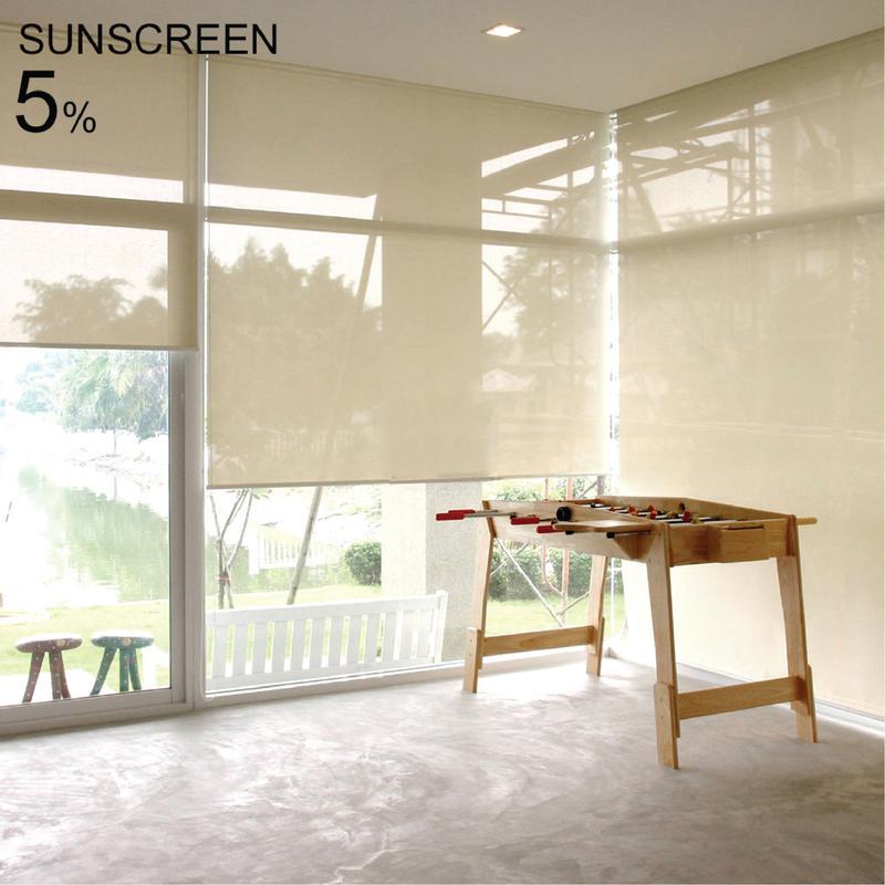 ม่านม้วน (สีขาว-ครีม) Sunscreen 5% ระบบโซ่ดึง